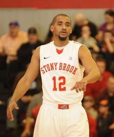 Stony Brook guard Marcus Rouse reacts on the