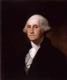 A portrait of President George Washington, whose 281st