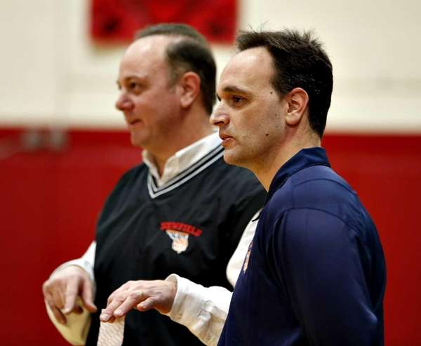 Coaching brothers Anthony Agostino of Newfield, left, and