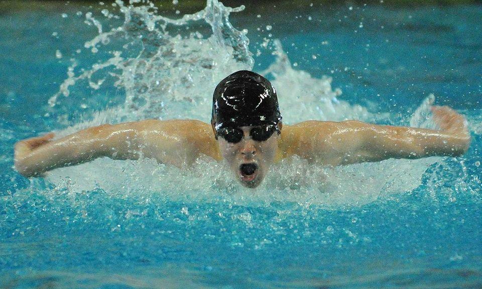 Richard Llewellyn of East Islip High School swims