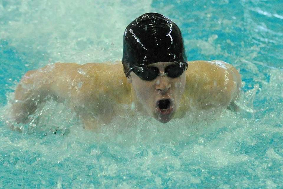 Richard Llewellyn of East Islip High School swims