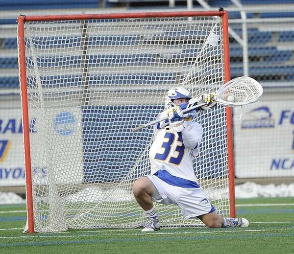 Hofstra goalkeeper Chris Selva makes a save against