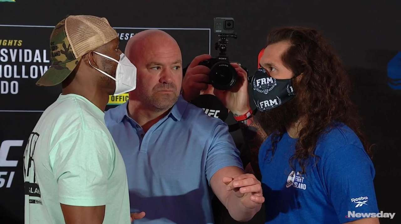 Watch the staredown between UFC welterweight champion Kamaru