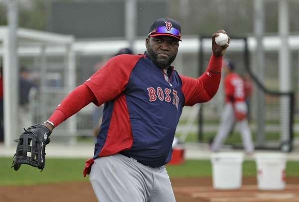 Boston Red Sox designated hitter David Ortiz throws
