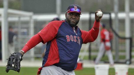 Boston Red Sox designated hitter David Ortiz throws