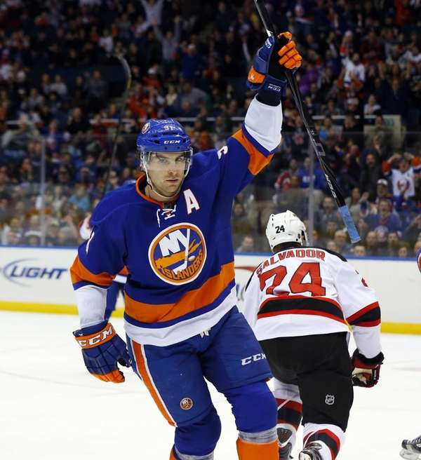 John Tavares of the Islanders celebrates his third