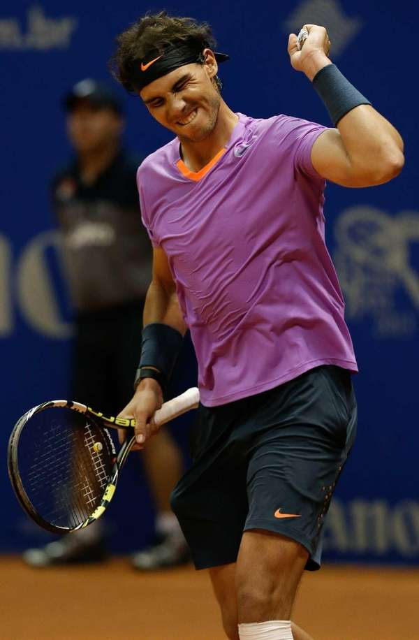Rafael Nadal celebrates his victory over Argentinian David