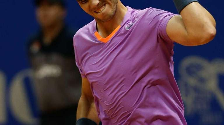 Rafael Nadal celebrates his victory over Argentinian David