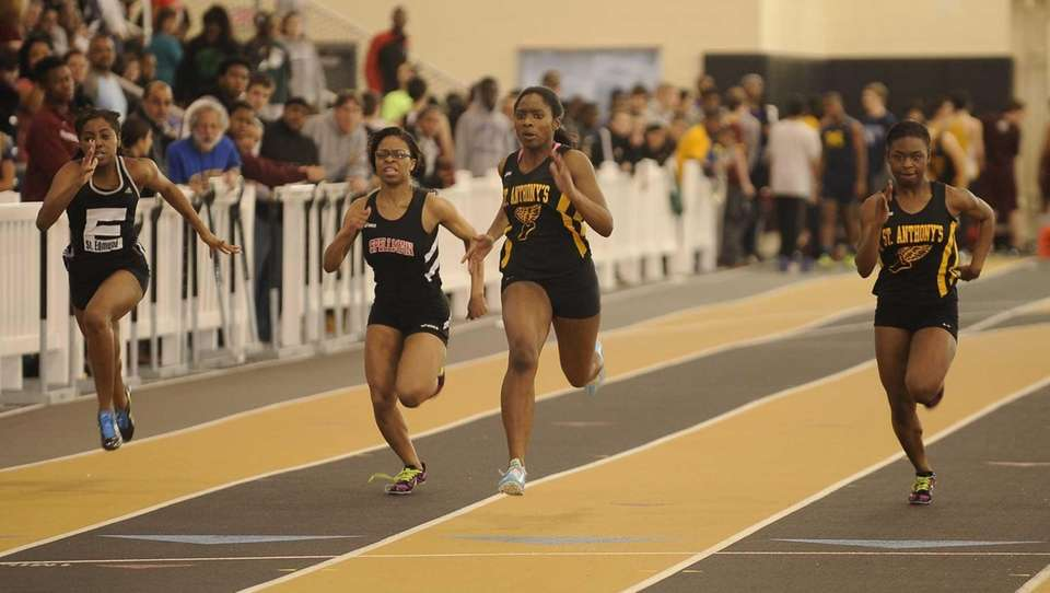 St. Anthony's Melissa June wins the 55-girls meter