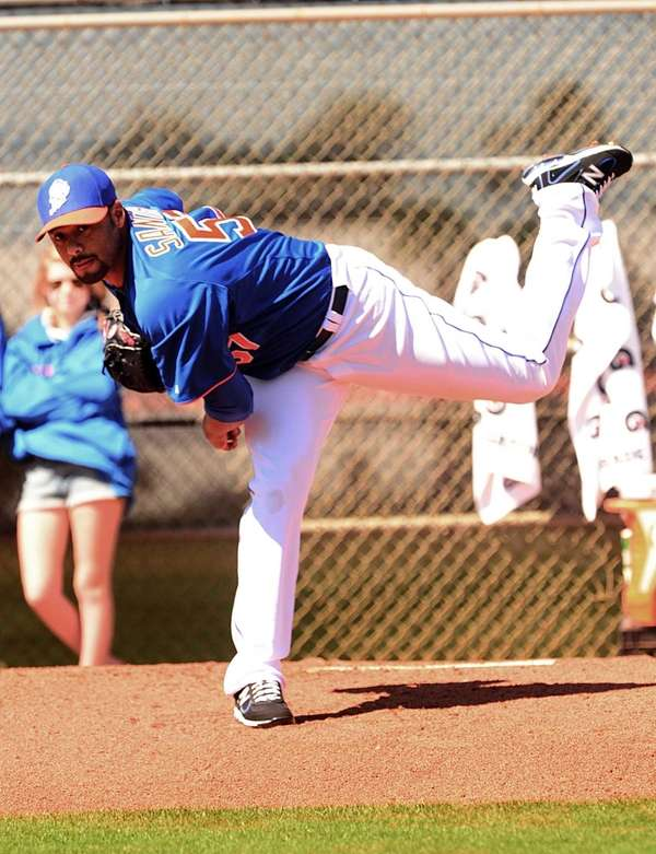 Johan Santana delivers a pitch from the mound