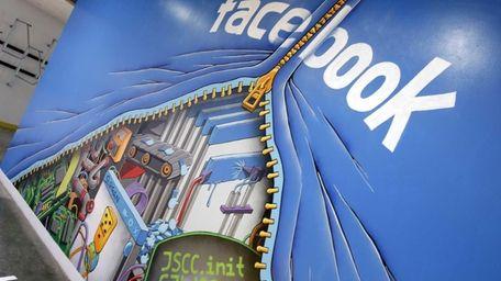 A mural at Facebook headquarters in Menlo Park,