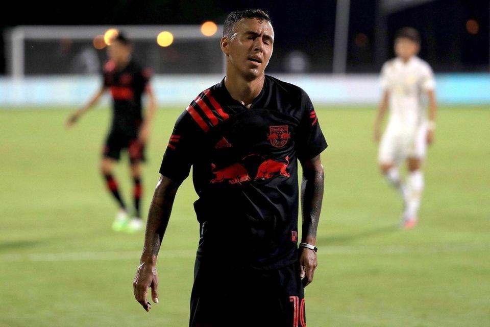 Alejandro Romero Gamarra of the Red Bulls reacts