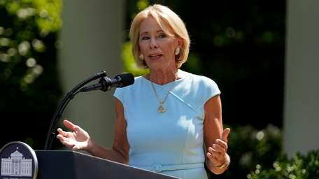 Education Secretary Betsy DeVos speaks during an event