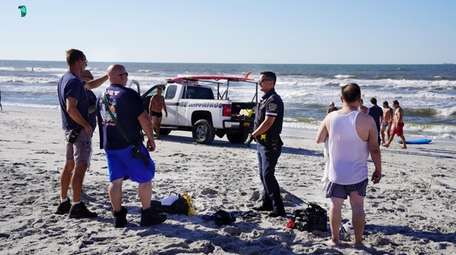The Long Beach Police, fire and lifeguards responded
