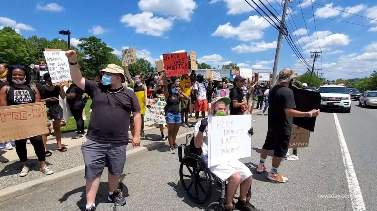 Protestors gathered in Bayside, Queens as well as
