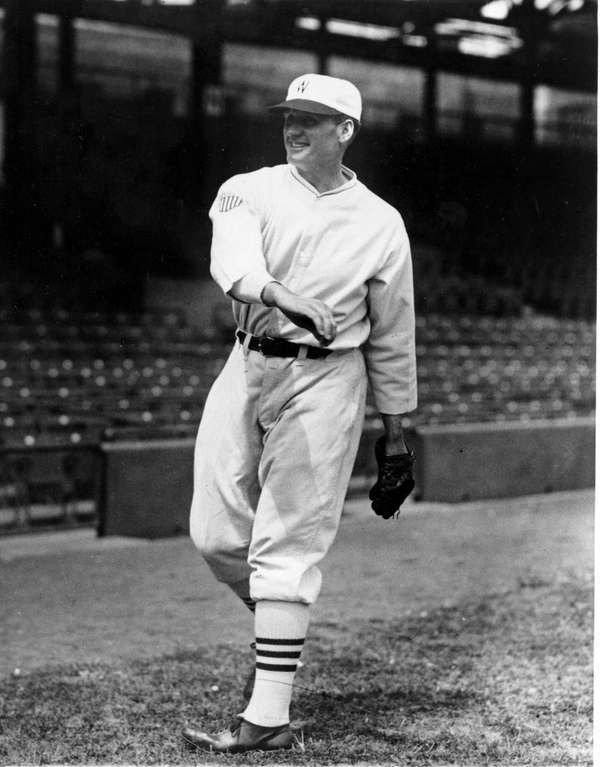 Washington Nationals pitcher Walter Johnson is shown throwing