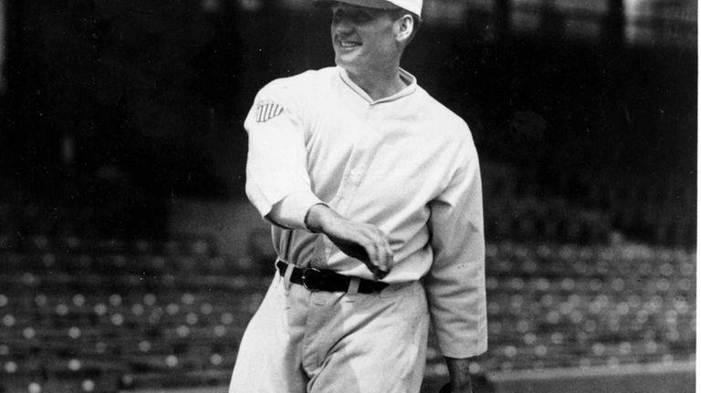 Washington Nationals pitcher Walter Johnson is shown throwing