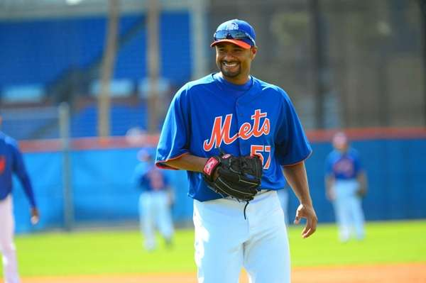 Johan Santana looks on during a spring training