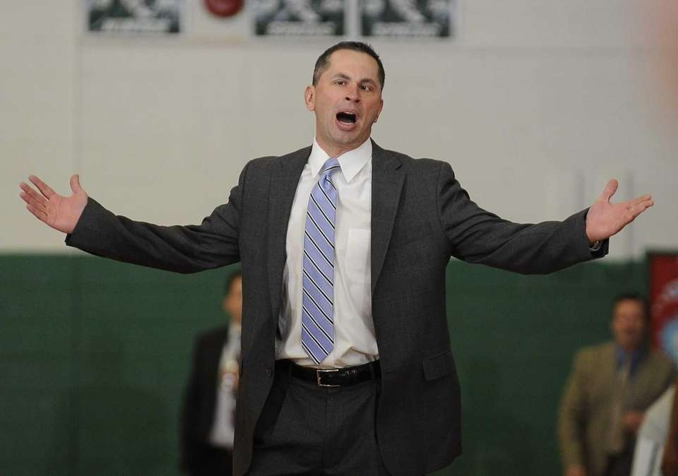 Brentwood head coach Anthony Jimenez reacts to a