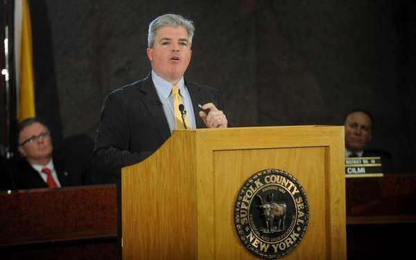 Suffolk County Executive Steve Bellone delivers his State
