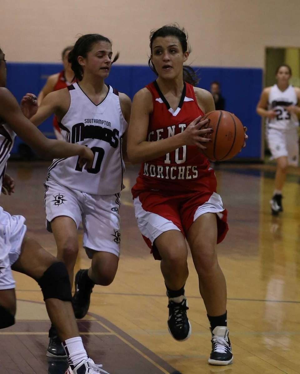 Southampton's Carly Guida plays defense while Center Moriches'