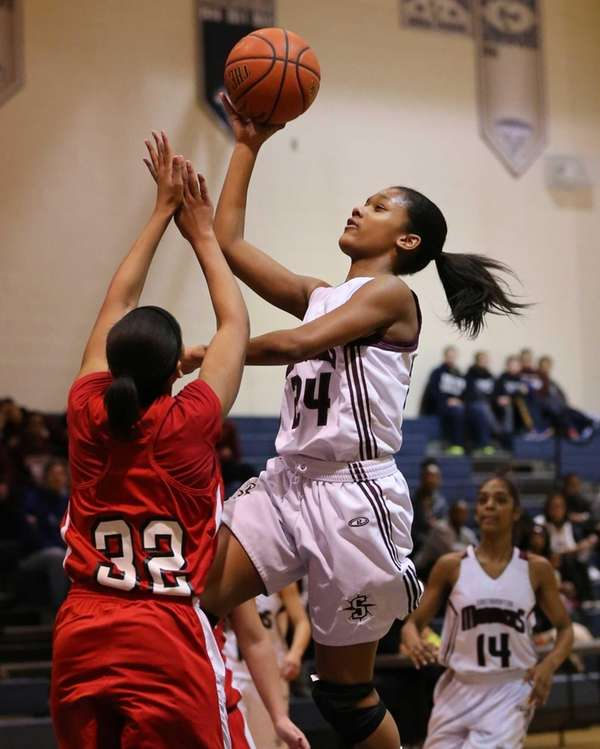 Southampton's Paris Hodges goes up for a jump