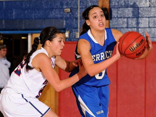 Herricks' Alison Ricchiuti, right, looks to pass away
