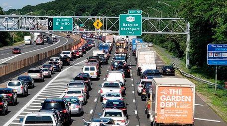 Westbound LIE traffic is at a standstill in