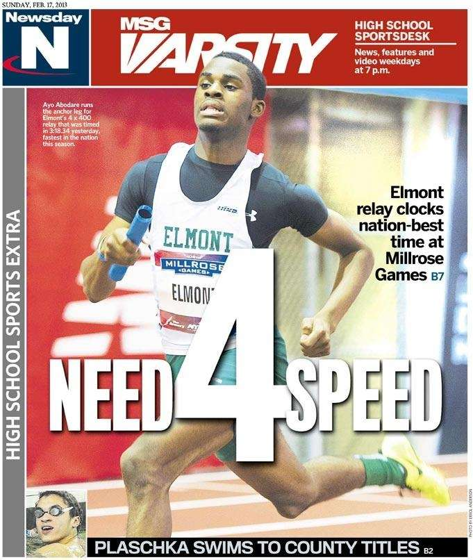 Ayo Abodare anchored Elmont to the fastest time
