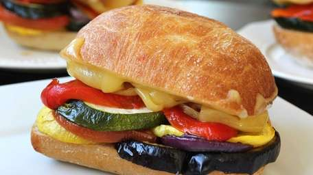 This roasted vegetable sandwich can be made with