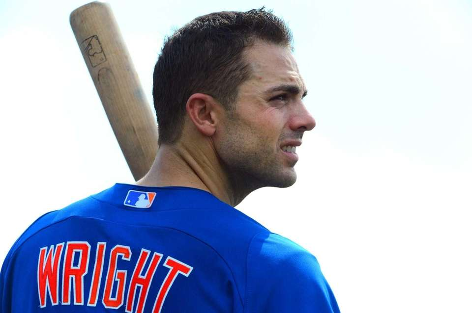 David Wright looks on during a spring training