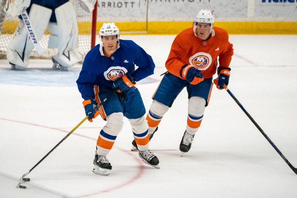 New York Islanders defenseman Ryan Pulock (6) pursues