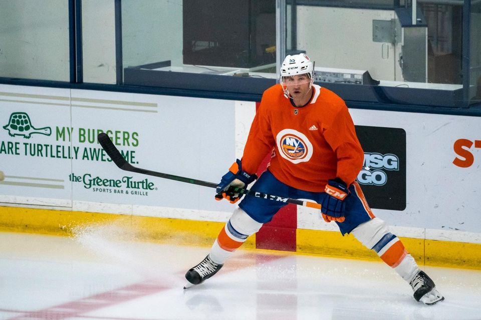 Islanders defenseman Johnny Boychuk (55) looks on during