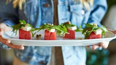 Watermelon salad with mizuna, feta, honey roasted pistachios