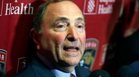 NHL Commissioner Gary Bettman speaks to members of