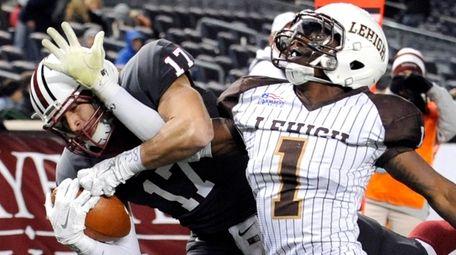 Lafayette wide receiver Matt Mrazek, left, catches a