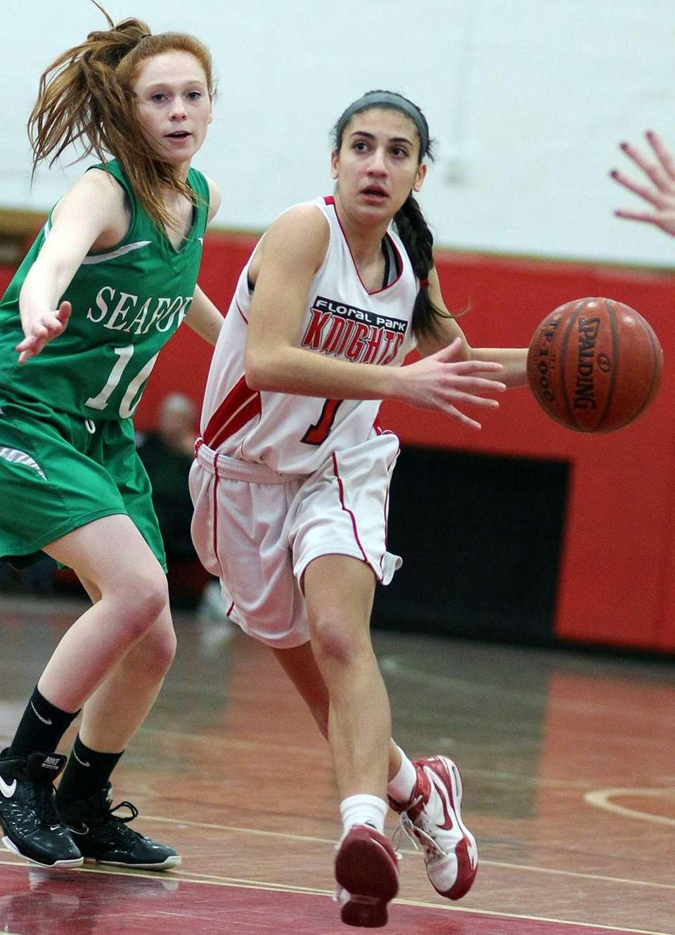 Floral Park's Jeanna Orfanos moves the ball. (Feb.