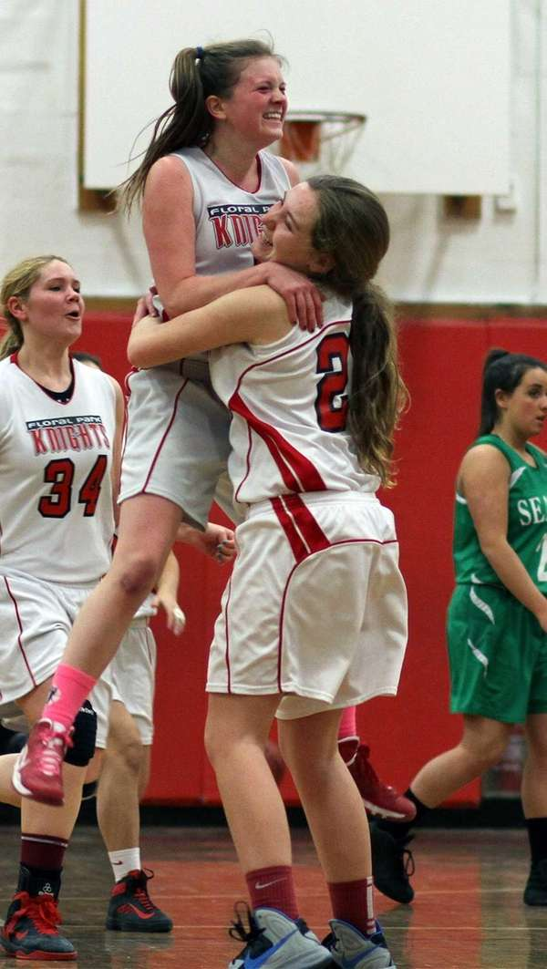 Floral Park celebrates after defeating Seaford. (Feb. 20,