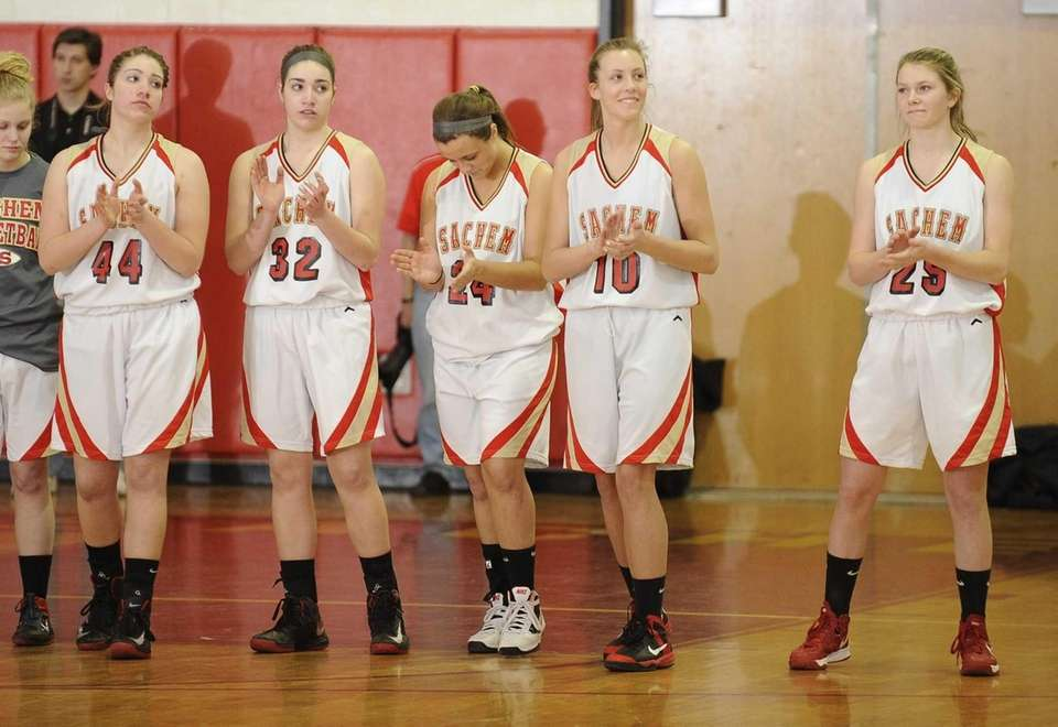 Sachem East starters line up before the game