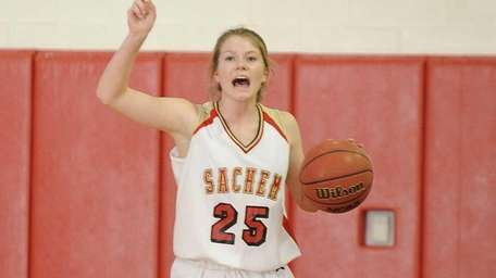 Sachem East's Katie Doherty calls a play against