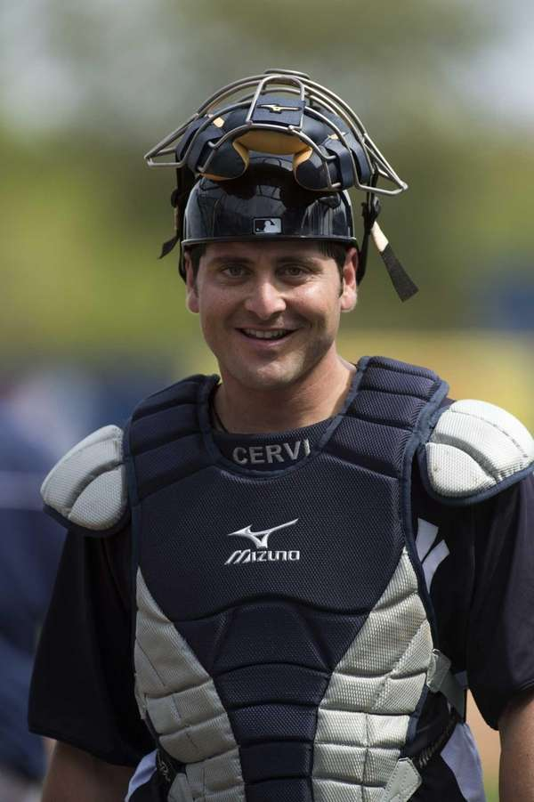 Yankees' Francisco Cervelli smiles after taking pitches in