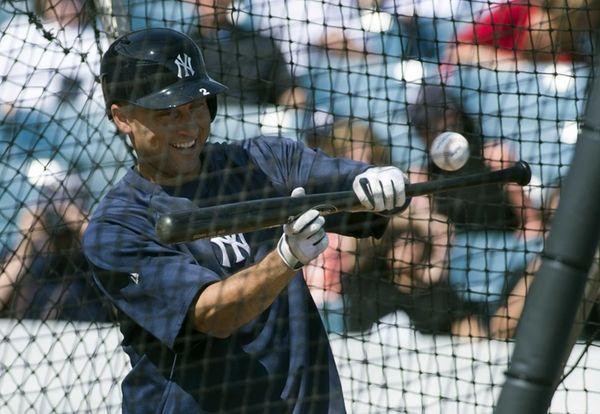 Yankees' Derek Jeter takes batting practice. (Feb. 20,