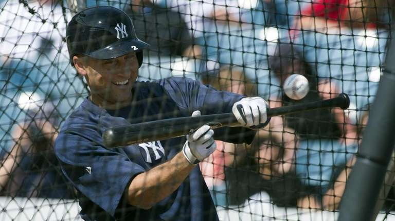 Yankees' Derek Jeter takes batting practice. (Feb. 20,