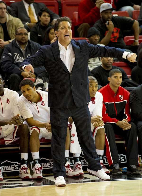 St. John's head coach Steve Lavin looks on