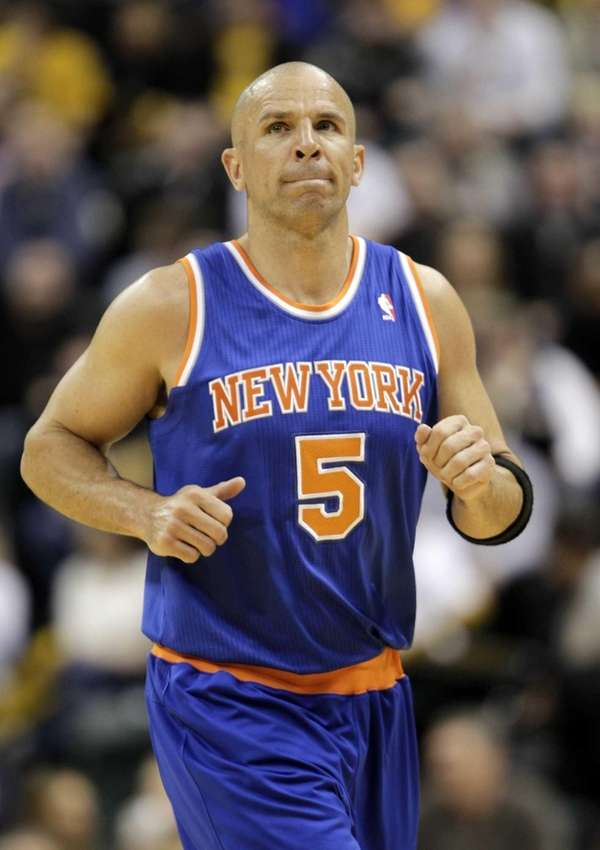 Knicks point guard Jason Kidd looks at the