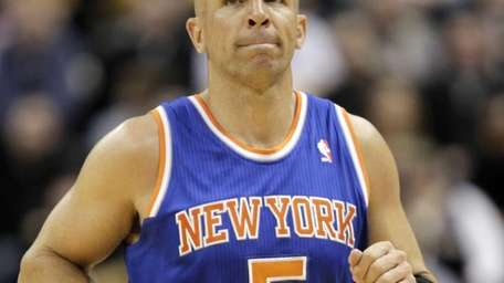 Knicks point guard Jason Kidd looks at the