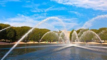 A breathtaking fountain in the sculpture garden of