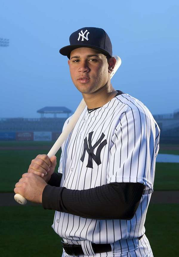 Yankees catcher Gary Sanchez poses on picture day