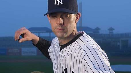 Yankees catcher Chris Stewart on picture day during