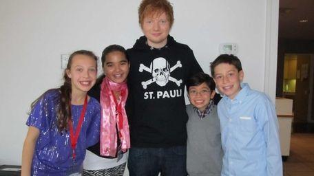 Singer Ed Sheeren with Kidsday reporters Joanna Vissichelli,